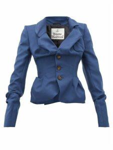 Vivienne Westwood - Draped Single-breasted Virgin-wool Jacket - Womens - Navy