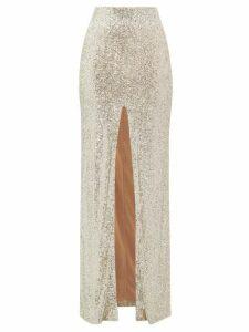 Galvan - Modern Love High-rise Sequinned Maxi Skirt - Womens - Light Gold