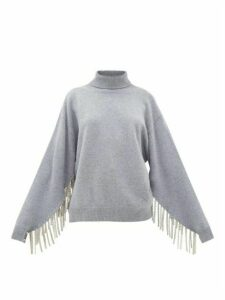Christopher Kane - Chain-trimmed Roll-neck Wool-blend Sweater - Womens - Grey