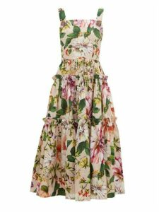 Dolce & Gabbana - Floral-print Cotton-poplin Midi Dress - Womens - Pink Print