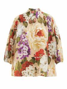 Dolce & Gabbana - Floral-print Silk-crepe Shirt - Womens - Beige