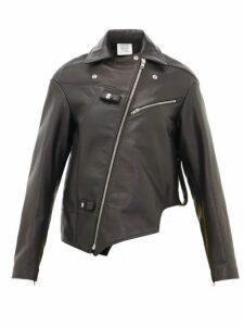 Vetements - Asymmetric Leather Biker Jacket - Womens - Black
