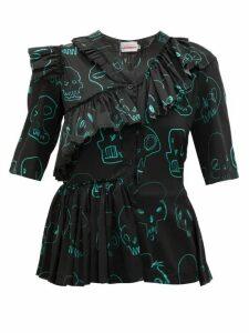 Charles Jeffrey Loverboy - Skull-print Ruffle Silk Blouse - Womens - Black Multi