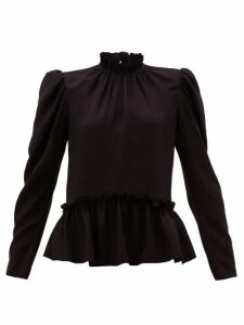 Saloni - Mel Ruffled Puff-sleeve Silk Blouse - Womens - Black