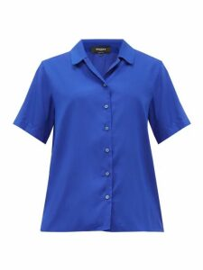 Rochas - Notch-collar Silk-poplin Shirt - Womens - Blue