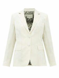 Etro - Single-breasted Floral-jacquard Jacket - Womens - White
