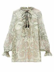 Etro - Camilia Ruffled Paisley-print Silk-chiffon Blouse - Womens - White Black