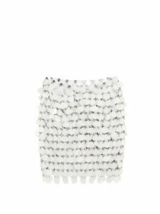 Paco Rabanne - Flower-paillette Chainmail Skirt - Womens - White