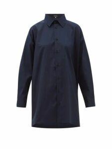 Eskandar - Longline Flared Cotton-poplin Shirt - Womens - Navy