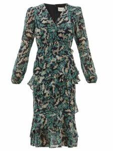 Saloni - Alya Tiered Jungle-print Silk-georgette Dress - Womens - Black Multi