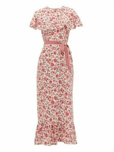 Beulah - Peony Teaberry Sailee Floral-print Silk Dress - Womens - Pink White