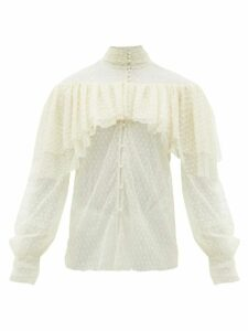 Rodarte - Ruffled Floral-appliqué Swiss-dot Blouse - Womens - White
