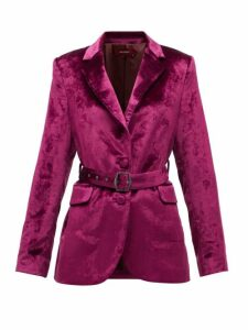 Sies Marjan - Terry Single-breasted Belted Velvet Jacket - Womens - Burgundy