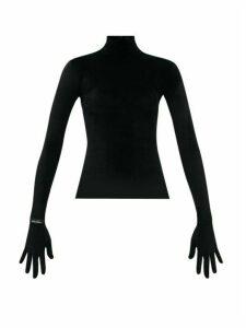 Richard Quinn - Velvet Glove-sleeve Turtleneck Top - Womens - Black