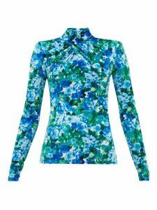 Richard Quinn - Padded-shoulder Floral-print Velvet Top - Womens - Blue Print