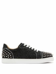 Christian Louboutin - Vieira 2 Spiked Glittered-leather Trainers - Womens - Black Silver