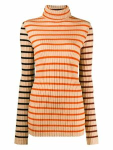 Nude turtleneck striped jumper - NEUTRALS