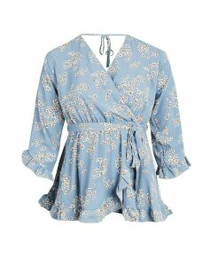 Lovedrobe GB Blue Floral Frill Blouse