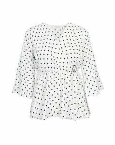 Lovedrobe GB White Dot Print Wrap Blouse