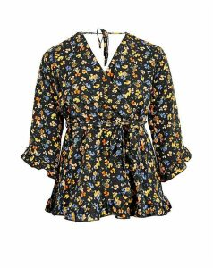 Lovedrobe GB Black Floral Frill Blouse