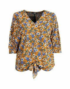 Koko Contrast Floral Print Tie Blouse