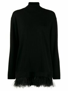 P.A.R.O.S.H. roll neck feather trim sweater - Black