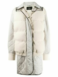 Fendi padded shearling coat - NEUTRALS