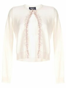Paule Ka cropped fringed cardigan - White