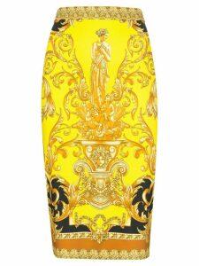 Versace baroque-print fitted midi skirt - Black