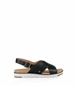 UGG Women's Kamile Leather Sandal in Black, Size 3