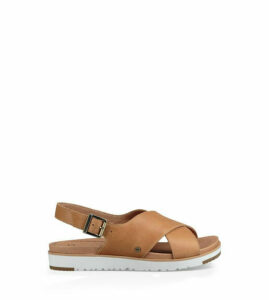 UGG Women's Kamile Leather Sandal in Almond, Size 8