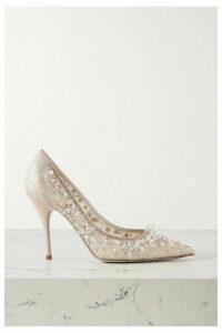 René Caovilla - Cinderella Embellished Lace And Satin Pumps - Beige
