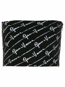 Versace printed logo knitted crop top - Black
