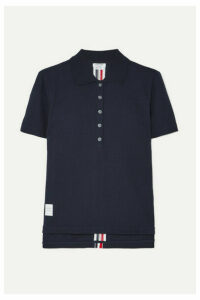 Thom Browne - Striped Stretch Knit-trimmed Cotton-piqué Polo Shirt - Navy