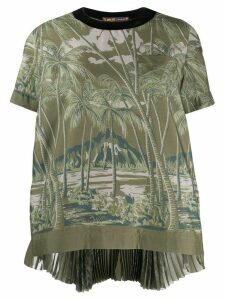 Sacai island print pleated back top - Green