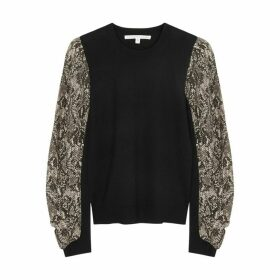 Veronica Beard Alder Black Python-print Wool Jumper