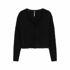 Free People Seashell Black V-neck Jumper