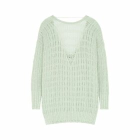 Free People Pretty In Pointelle Mint Cotton-blend Jumper