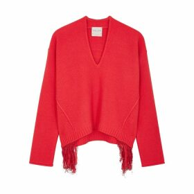 Forte forte Red Fringed Wool-blend Jumper