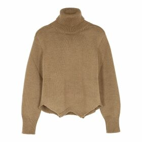 MONSE Brown Roll-neck Merino Wool Jumper