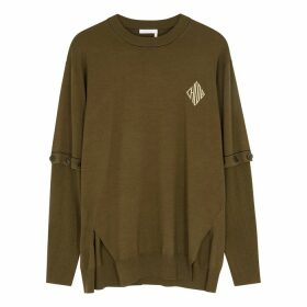 Chloé Dark Olive Wool-blend Jumper