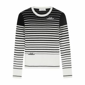 Valentino Monochrome Striped Wool-blend Jumper