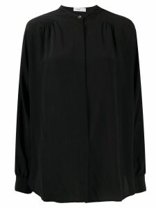 Closed concealed-button silk shirt - Black