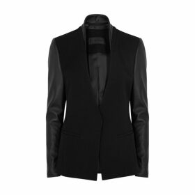 Helmut Lang Black Leather And Wool Blazer