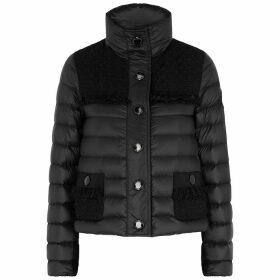 Moncler Lunaire Black Tweed-panelled Shell Jacket