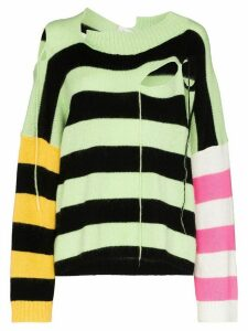 Charles Jeffrey Loverboy slashed stripe panel jumper - Green
