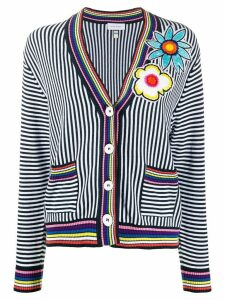 Mira Mikati floral embroidered striped cardigan - White