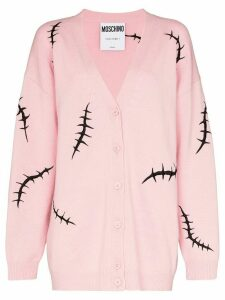 Moschino embroidered stitch motif cardigan - PINK