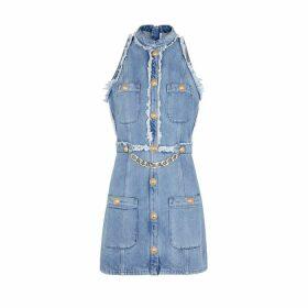 Balmain Light Blue Denim Mini Dress