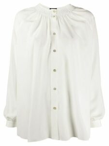 Fay silk ruched neckline blouse - White
